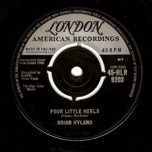 BRIAN HYLAND Four Little Heels Vinyl Record 7 Inch London 1960